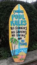 POOL RULES TROPICAL PERSONALIZED SURFBOARD DECORATIVE ART POOL PLAQUE SIGN