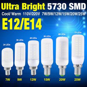 BLANC FROID/BLANC CHAUD 5730 SMD LED LUMIÈRE DE MAÏS 7-25W E14/E12 AMPOULE LAMPE
