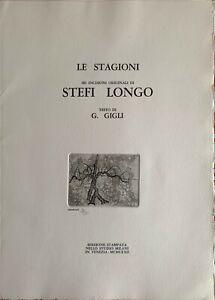 """Stefi Longo acquaforte Il Riposo 50x35 numerata anno 1972 da """"le stagioni"""""""