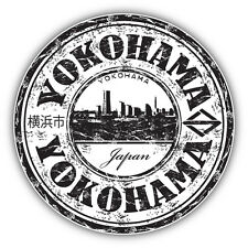 "Yokohama City Japan Grunge Travel Stamp Car Bumper Sticker Decal 5"" x 5"""