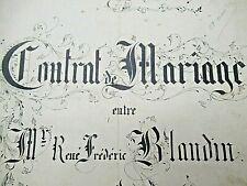 SUPERBE CONTRAT DE MARIAGE FAMILLE BLANDIN 1895 CALLIGRAPHIE RENNES / Vélin