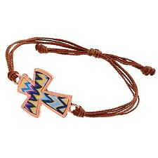 Clay Cross Blue Tie Dye Chevron Brown Rope Copper Colored Adjustable Bracelet