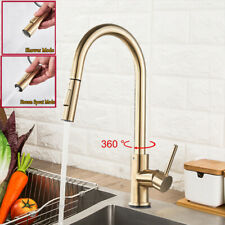 Brushed Gold Deck Mount Kitchen Faucet Sink Mixer Tap Single Handle 360°Pull Out