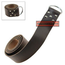 Large Leather Belt Brown Medieval Style Ring Buckle Renaissance Knight Cosplay