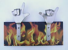 METAL DANDIE HANDS WITH FLAMES Hot Rod Drag Racing Bag Coat hook hanging Rack