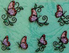Nail Art 3D Sticker Glitter Decal Pink Butterfly w/ Red Dot on Vine 24 pcs/sheet