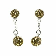 Sterling Silver Shamballa Inspired Champagne Crystal Disco Balls Dangle Earrings