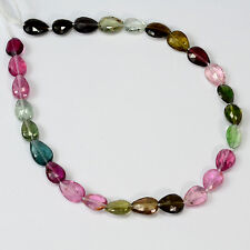Multi Tourmaline Faceted Center Drilled Pear Briolette Beads 7.8 inch strand