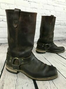 Men's Brown Leather Motorcycle Harness Boots Size 9.5 D Made in USA