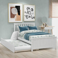 Twin Size Bed Frame W/Trundle Platform With Wood Slats and Headboard&Footboard