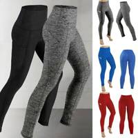 Women High Waist Yoga Pants With Pockets Leggings Sport Push Up Gym Fitness US