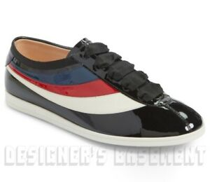 GUCCI Men 8G black Patent leather FALACER BEE Web accent Sneakers NIB Auth $650!