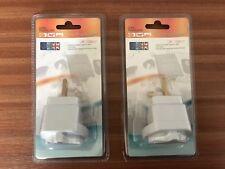 2 x Euro European Plug Adapter UK Visitor NEW