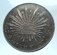 1877 Mo MH MEXICO Large Eagle Sun Antique Mexican Silver 8 Reales Coin i78227