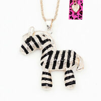 Betsey Johnson Enamel Crystal Cute Zebra Pendant Sweater Chain Animal Necklace