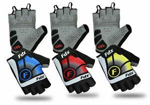 FDX New Cycling Gloves Bike Half Finger Gel Padded Fingerless Outdoor Bike Mitts