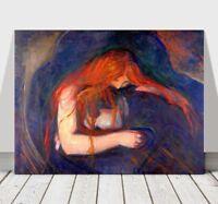 "EDVARD MUNCH - Vampire - CANVAS ART PRINT POSTER - 18x12"""