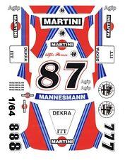 #8 - #7 Martini Alfa Romeo 156 V6 DTM 1/64th HO Scale Slot Car Decals