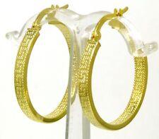 Damen Creolen Ohrringe 585 Gold Mäander gemustert ca 20 mm D.messer 3 mm breit