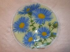 "Peggy Karr Asters Fused Art Glass Plate 11-1/4"" Round,Never Used, Displayed Only"