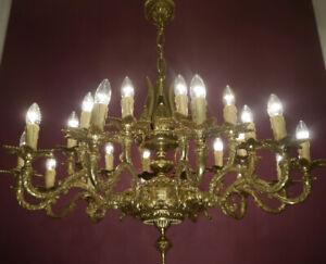 "LARGE SHINY BRASS SPANISH HUGE CHANDELIER CEILING LAMP 24 LIGHT Ø 40"""
