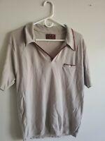 Kingsport Nylon/Ban-Lon Vintage No Button Polo Shirt, Beige, Men's L