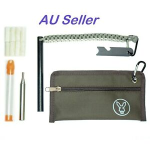 15cm x 1.2cm Ferro Rod with Striker, Pouch, Waxed Cotton Tinder and Blow Pipe