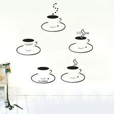 5 cups coffee Wall Decor Removable Vinyl Decal Sticker Art DIY Mural