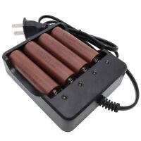 4pcs 18650 Battery 3000mAh 3.7V Li-ion Rechargeable and EU/UK/US Plug Charger