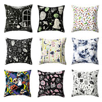 HALLOWEEN GHOST SKULL HEAD THROW PILLOW CASE CUSHION COVER HOME SOFA DECOR FUNNY