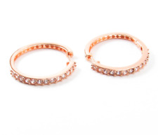 """Hoop Earrings Cubic Zirconia Crystal Pave Small Rose Gold Silver 1.25"""" CZ New"""