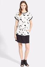 NWT Vince. Geometric Print Contrast Band Silk Drawstring Blouson Dress XS $395