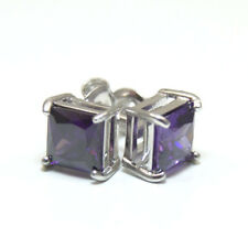 Amethyst Princess Cut 2.5ct Diamond-Unique Studs Sterling Silver