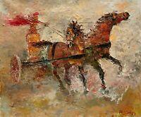 Roman Empire Chariot Race Gladiator History ORIGINAL OIL PAINTING Andre Dluhos