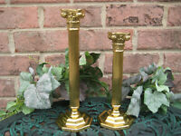 SET OF 2 BRASS TAPER CANDLE HOLDER PEDESTAL ORNATE Michael Angelo LICQURED