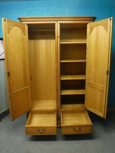 1of2 CHUNKY SOLID WOOD DOUBLE 2DOOR 2DRAWER WARDROBE WITH SHELVES-  see shop