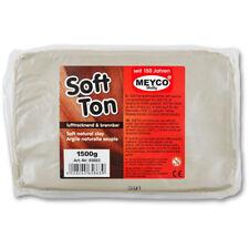 Meyco Hobby Modelliermasse 1,5 kg Ton weiß lufttrocknend Knetmasse zum Basteln