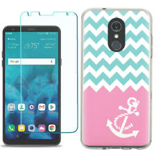 TPU Phone Case for LG Stylo 5 w/ Tempered Glass - Chevron/Anchor