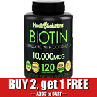 BIOTIN 10000 mcg Nail Skin Hair Growth Vitamins with Coconut Oil 120 Softgels