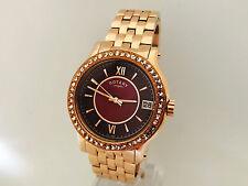 64N nuevas Damas Reloj De Oro Rosa de Rotary Miyota púrpura Cara Grande De Acero LB03033/17