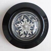 Bouton ancien - Lucite gravé sur plastique - 31 mm - Plastic Button