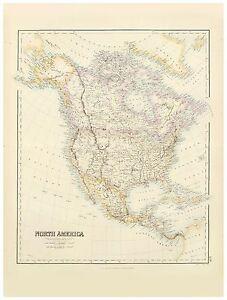 Old Vintage Decorative Map of North America Fullarton 1872