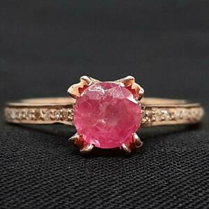 Genuine 1.15ctw Mozambique Ruby & H-SI Diamond 14K Rose Gold 925 Silver Ring