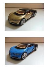 Lot 2 Bugatti Chiron 2017 Bleu et Noir/Or 1/36 Welly NEUF Boite d'origine