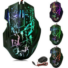 Wired Gaming Mouse 7 Button 3200 DPI Optical USB Adjustable LED For Computer BK