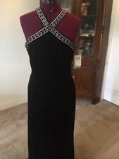 adrianna papell long velvet dress with embroidered halter straps, nwt, size 10