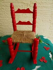Vintage Doll Red Rocking Chair Woven Jute Cord Bottom