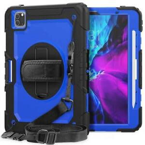 For iPad Pro 12.9 4th 5th Gen 2021 Rotated Heavy Duty Rugged Case Cover W/strap