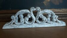 Vintage Small Carved Mahogany Wood Cracked Paint pediment