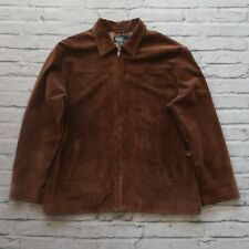 Polo Ralph Lauren Suede Bomber Jacket Size L Brown Plaid Lined Leather Vtg